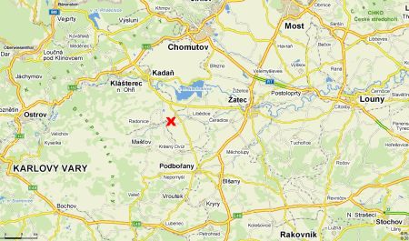 mapa - paintball Vilémov